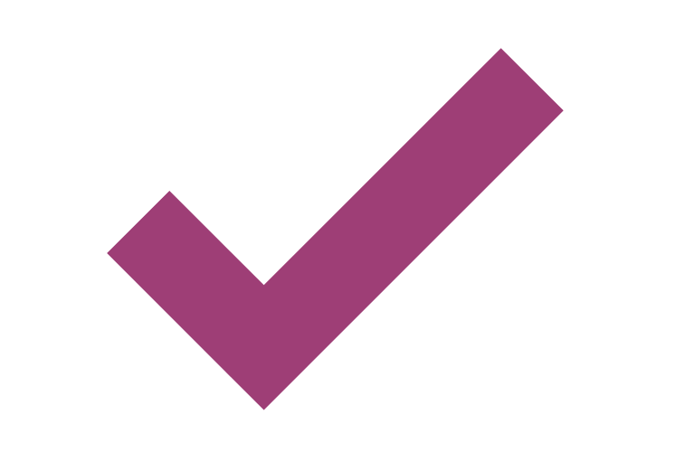 purple tick on white background